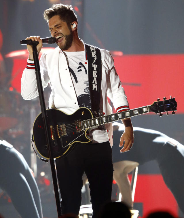 """<p>Thomas Rhett performs """"Craving You"""" at the CMT Music Awards at Music City Center on Wednesday, June 7, 2017, in Nashville, Tenn. (Photo by Wade Payne/Invision/AP) </p>"""