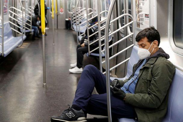 PHOTO: A commuter wears a mask while riding the New York City Subway as the outbreak of the coronavirus disease (COVID-19) continues in New York, April 30, 2020. (Lucas Jackson/Reuters)