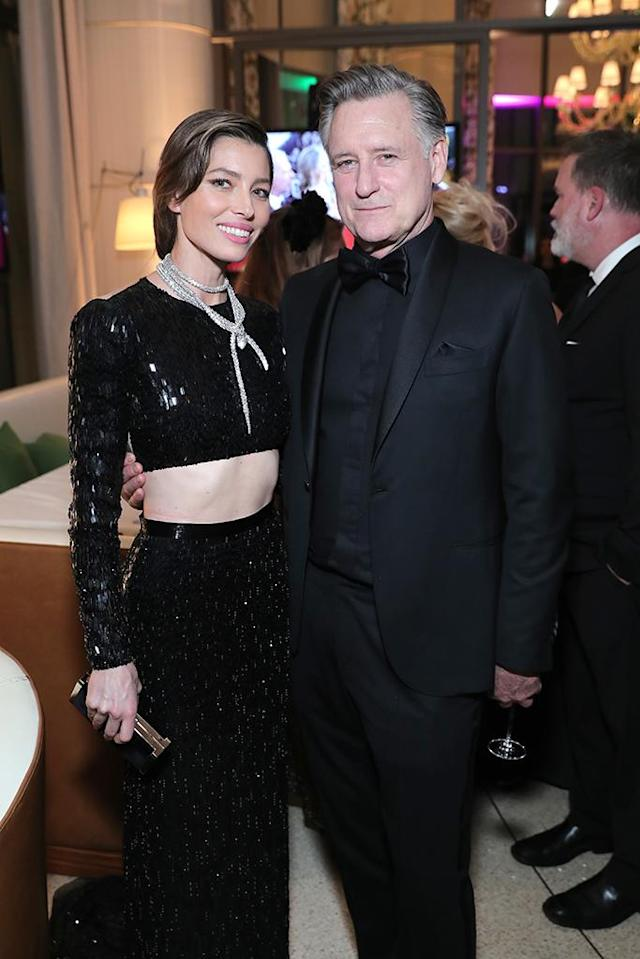 <p>Jessica Biel and Bill Pullman enjoy NBC and USA Network''s post-Golden Globe Awards party. (Photo: Neilson Barnard/NBCUniversal/NBCU Photo Bank via Getty Images) </p>