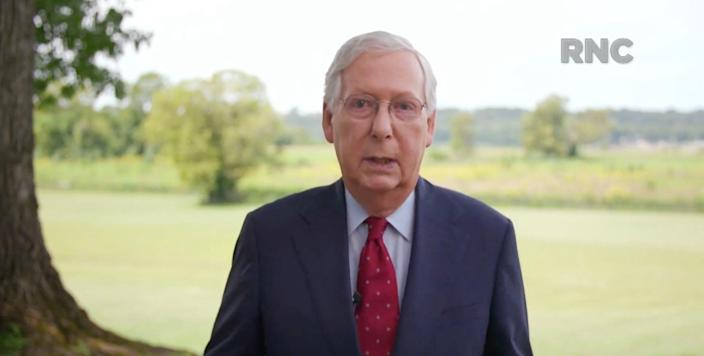 Senate Majority Leader Mitch McConnell of Kentucky, speaks during the Republican National Convention at the Mellon Auditorium in Washington, D.C., Thursday, Aug. 27, 2020.