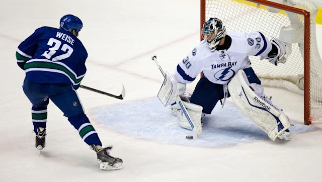 Tampa Bay Lightning goalie Ben Bishop, right, stops Vancouver Canucks' Dale Weise during the second period of an NHL hockey game Wednesday, Jan. 1, 2014, in Vancouver, British Columbia. (AP Photo/The Canadian Press, Darryl Dyck)