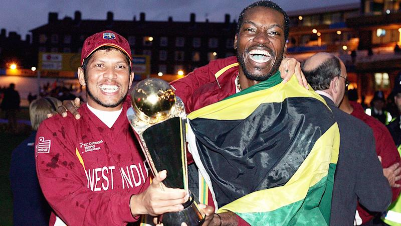 Ramnaresh Sarwan and Chris Gayle, pictured here celebrating winning the ICC Champions Trophy in 2004.