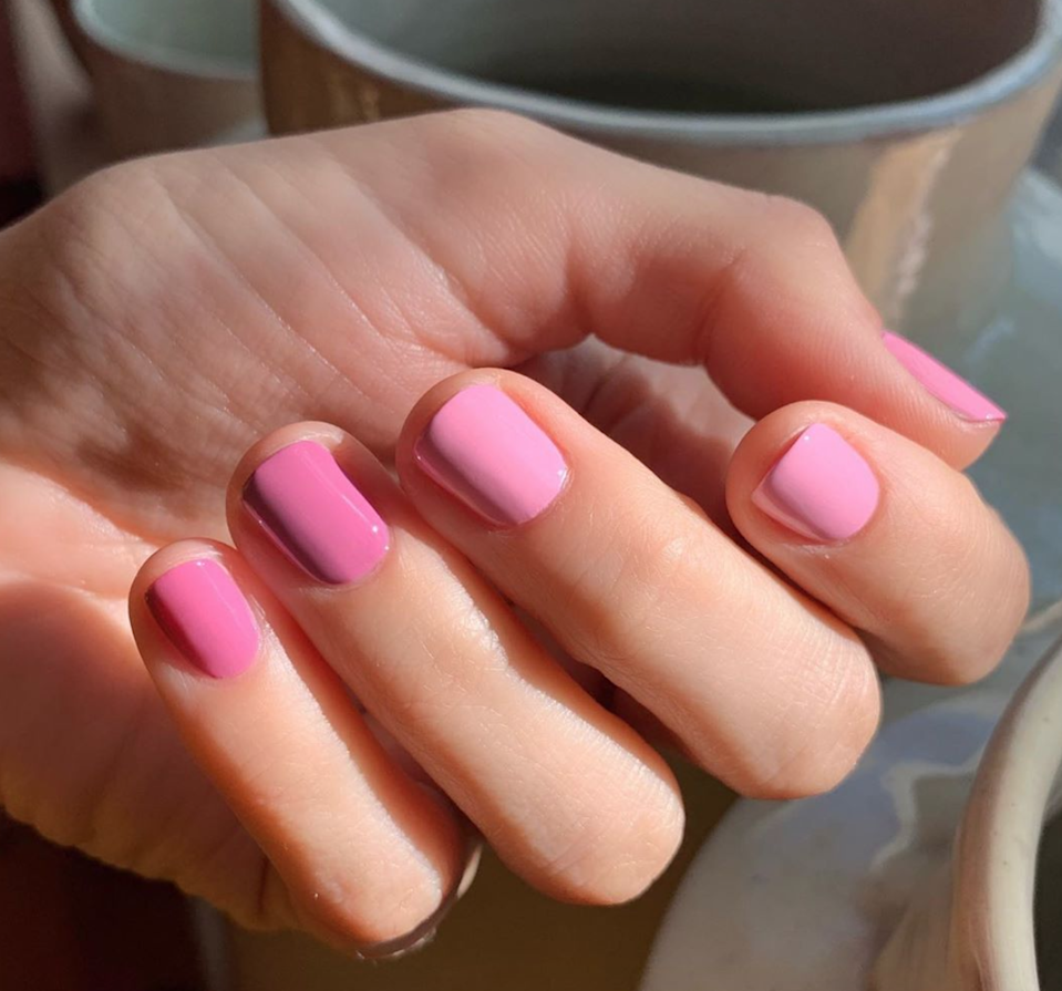 Varied hues keep a pink mani from being too precious.