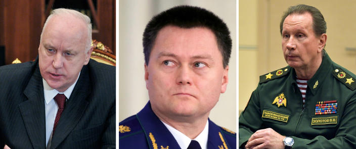 This combo image shows from left, Investigative Committee Chief Alexander Bastrykin at the Kremlin in Moscow, Thursday, Dec. 13, 2012; Russian Prosecutor General Igor Krasnov attends a meeting at the Prosecutor General's Office Board in Moscow, Russia, Tuesday, March 17, 2020; Commander-in-Chief of the Rosguardia (National Guard) troops Viktor Zolotov at the Novo-Ogaryovo residence outside Moscow, Wednesday, May 6, 2020. The European Union on Tuesday, March 2, 2021 imposed sanctions on four senior Russian officials over the jailing of opposition leader Alexei Navalny, who is President Vladimir Putin's most high-profile political foe. (Sputnik, Kremlin Pool Photo via AP, File)