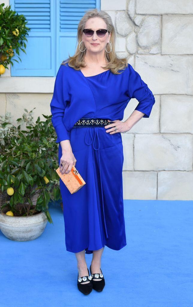 <p>Meryl Streep chose a cobalt-hued dress for the London premiere of 'Mamma Mia! Here We Go Again' teamed with cat-eye shades by Vista Sun and bejewelled shoes.<em> [Photo: Getty]</em> </p>