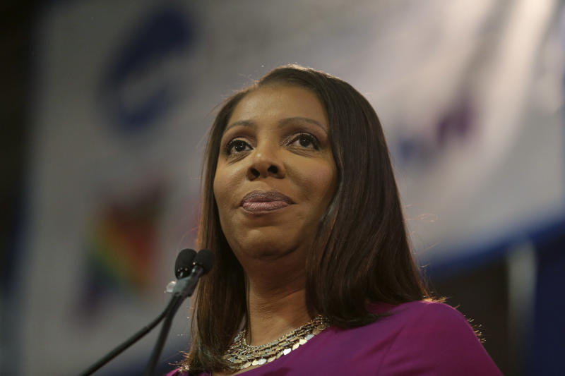"FILE - In this Sunday, Jan. 6, 2019 file photo, Attorney General of New York, Letitia James, speaks during an inauguration ceremony in New York. New York state's attorney general has begun an investigation into the National Rifle Association. A spokeswoman for Attorney General Letitia James said Saturday, April, 27, 2019 that James' office has issued subpoenas as part of an investigation related to the NRA. William A. Brewer, the NRA's outside lawyer, said the NRA ""will fully cooperate with any inquiry into its finances."" James, a Democrat, vowed during her campaign last year to investigate the NRA's not-for-profit status if elected. (AP Photo/Seth Wenig, File)"