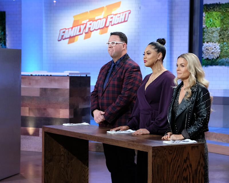 """FAMILY FOOD FIGHT - """"Leftovers Challenge / Farm to Table"""" - Flavors are flowing as the top four families of home cooks advance in the competition on an all-new episode of """"Family Food Fight,"""" THURSDAY, JULY 25 (9:00-10:00 p.m. EDT), on ABC. (John Fleenor/ABC via Getty Images) GRAHAM ELLIOT, AYESHA CURRY, CAT CORA"""