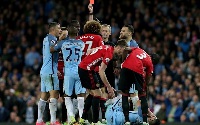 <span>Fellaini is given his marching orders</span>