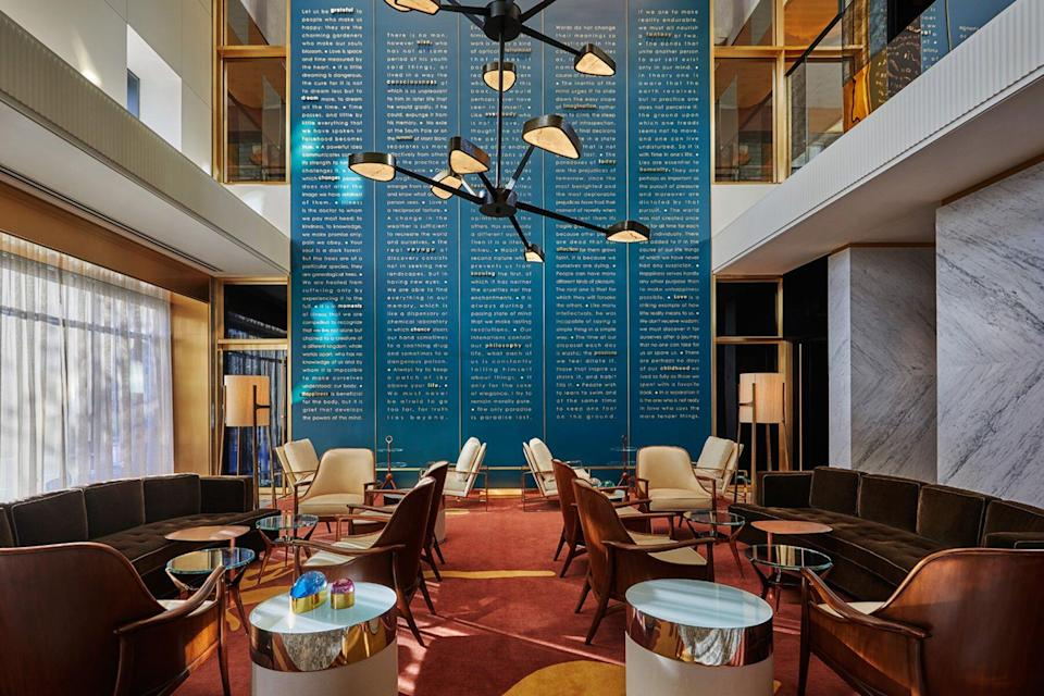 Lobby at the Viceroy Chicago hotel, voted one of the best hotels in the world