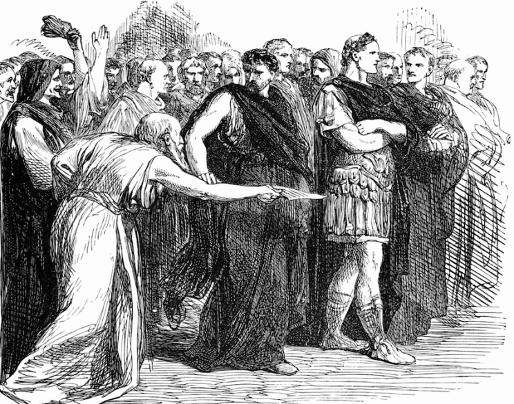 Julius Caesar is assassinated in a crucial moment in the play (Rex)