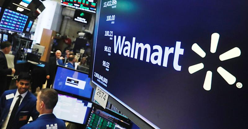 A Walmart logo is displayed above the floor of the New York Stock Exchange shortly after the opening bell in New York, August 16, 2018.
