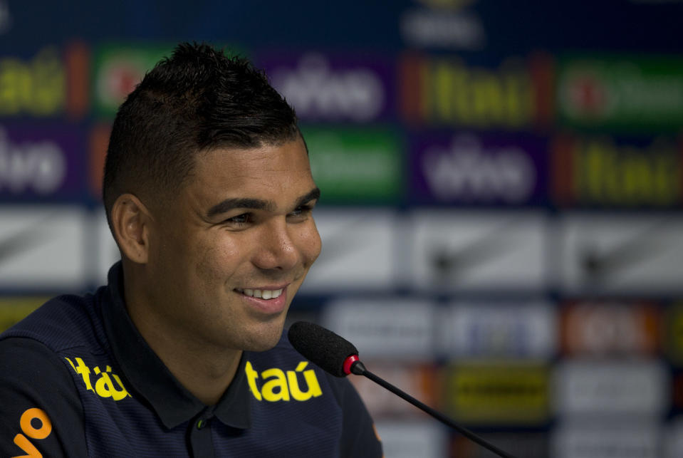 Brazil's Casemiro listens to a question during a press conference in Teresopolis, Brazil, Tuesday, Oct. 3, 2017. Brazil will face Bolivia on Thursday. (AP Photo/Silvia Izquierdo)