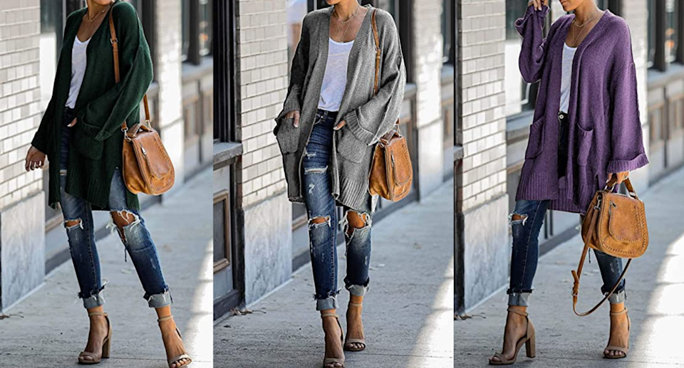 Sales of the FARORO Women's Cardigan have surged this week on Amazon. Images via Amazon.