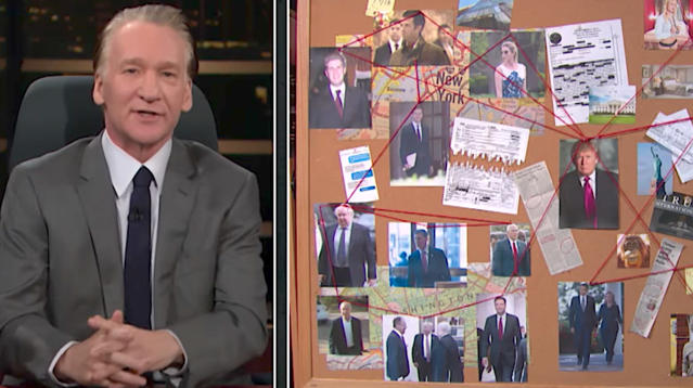 """Real Time"" host Bill Maher channeled his inner TV detective to break down President Donald Trump's alleged links to the Kremlin on Friday."