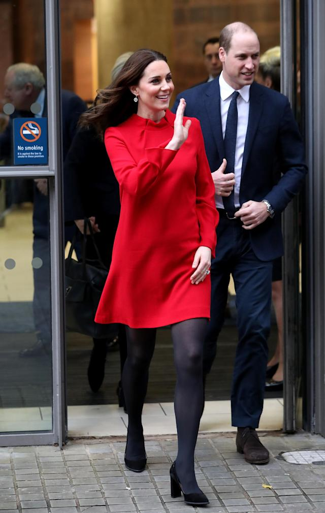 The red Goat dress the Duchess wore on the outing. (Photo: Getty Images)
