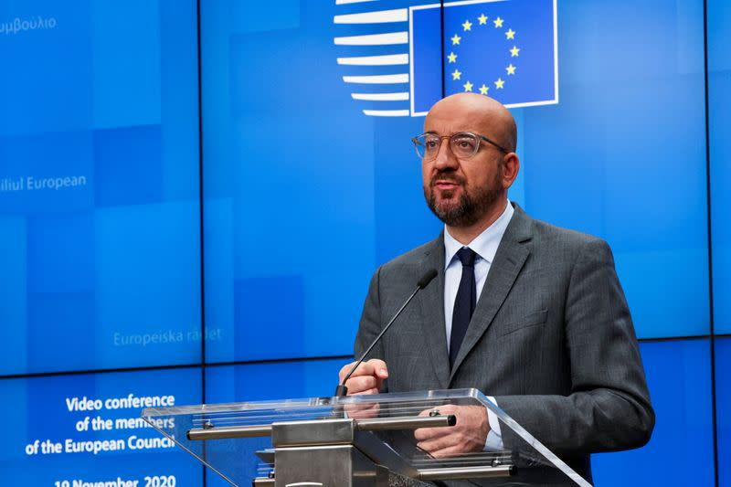 European Council President Charles Michel speaks during a news conference in Brussels