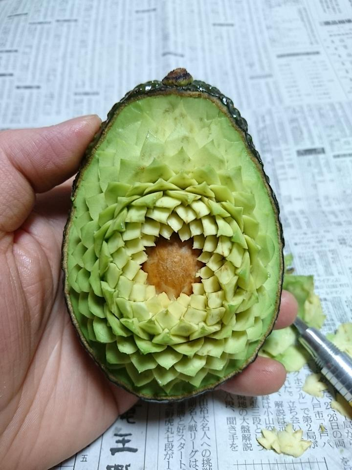 <p>The intricate designs can take up to three hours – pictured here is an insane avocado creation. (SWNS) </p>