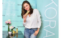 <p>Off the back of her successful modelling career, Miranda Kerr launched KORA Organics back in 2007. Now, the line is available to shop in over 200 stores organic and is famed for its non-toxic approach to beauty. <em>[Photo: Getty]</em> </p>