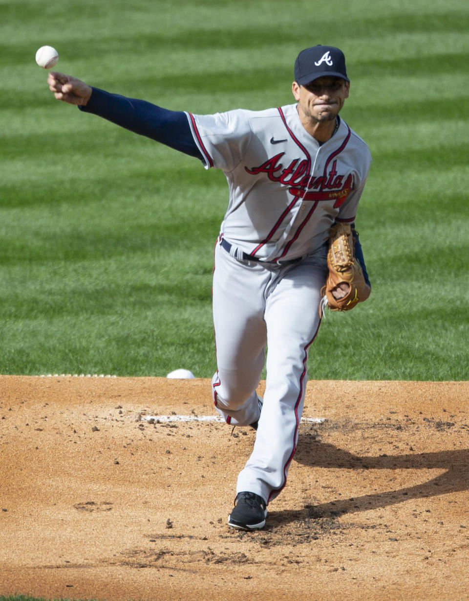 Atlanta Braves starting pitcher Charlie Morton throws during the first inning of a baseball game against the Philadelphia Phillies, Saturday, April 3, 2021, in Philadelphia. (AP Photo/Laurence Kesterson)