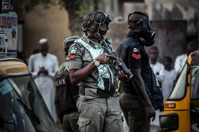 """Nigerian police (pictured February 2019) were doing """"everything possible"""" to secure the safe release of the three kidnap victims"""