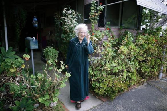 Mary Herring, 78, walks out of her trailer in which she has lived for 20 years, in Village Trailer Park in Santa Monica, July 12, 2012.