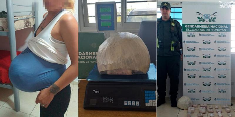 The woman allegedly tried to smuggle 15 cannabis bricks around her waist (Picture: Gendarmería Nacional/Twitter)