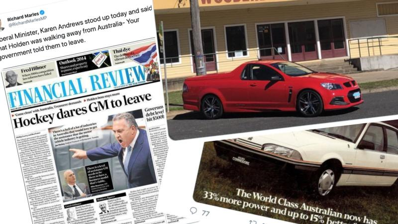 Australians have reacted with grief to GM Holden's announcement it's leaving the country. Images: Twitter (Richard Marles, Anthony Albanese, Paul Syvret).
