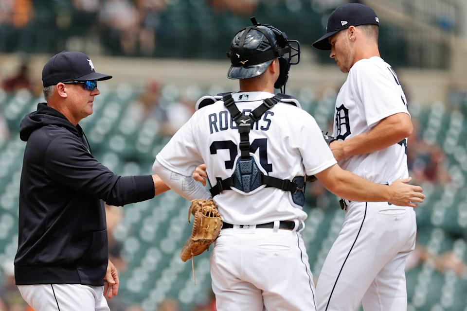 Jun 23, 2021; Detroit, Michigan, USA;  Detroit Tigers manager A.J. Hinch (14) take the ball to relieve starting pitcher Matt Manning (25) in the sixth inning against the St. Louis Cardinals at Comerica Park, June 23, 2021.