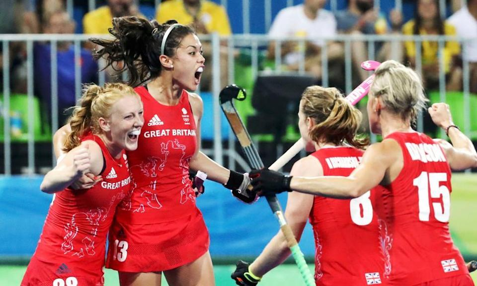 The Team GB women's hockey team celebrate a goal on their way to winning gold in Rio