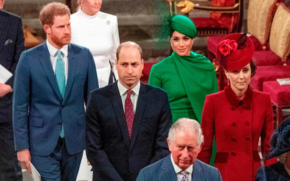The Sussexes and Cambridges at the annual Commonwealth Service in London last year, which was the last time they were publicly seen together - AFP