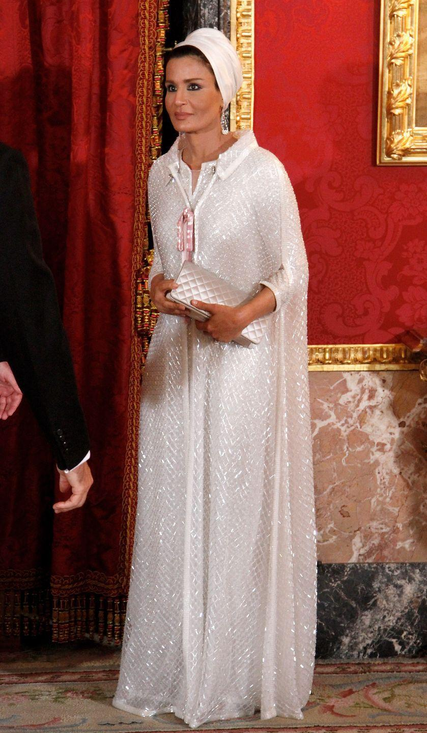 <p>She's often cited as one of the most elegant women in the world. For an official engagement in Spain, she wore custom Chanel couture. </p>