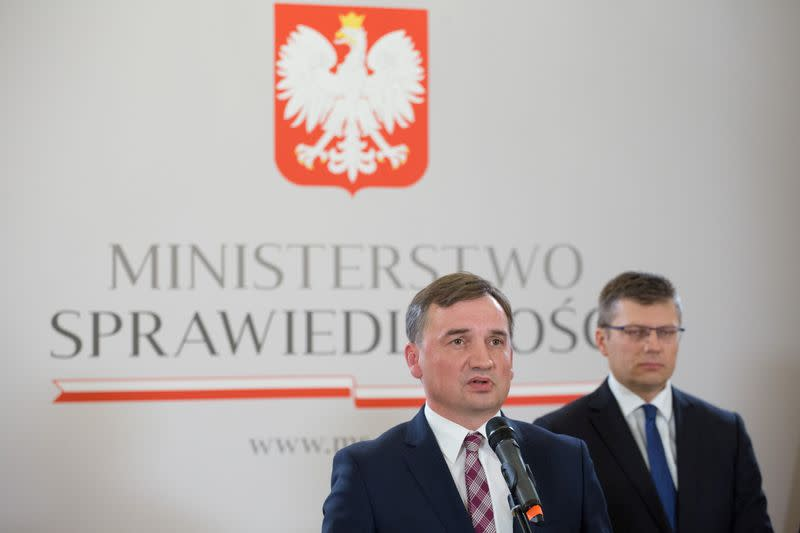 Polish Minister of Justice Zbigniew Ziobro attends press conference amid coalition tension in Warsaw