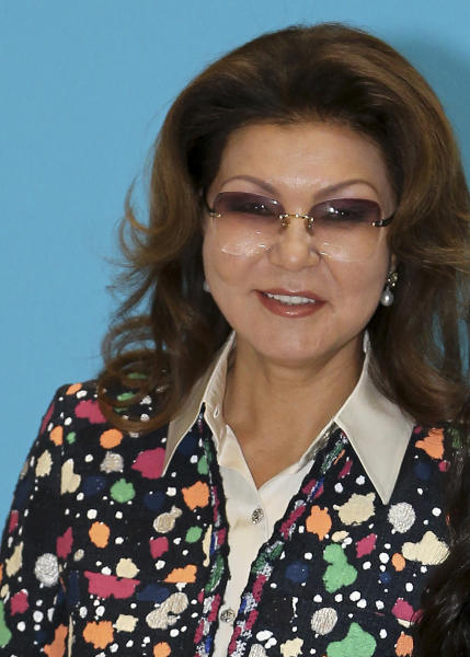 This Sunday, April 26, 2015 photo shows Dariga Nazarbayeva, daughter of the outgoing leader of Kazakhstan, Nursultan Nazarbayev, in Astana, Kazakhstan. The eldest daughter of Kazakhstan's outgoing long-time leader was appointed speaker of parliament on Wednesday March 20, 2019, fueling speculation that she may succeed her father as president after next year's election. (AP Photo/Stanislav Filippov)