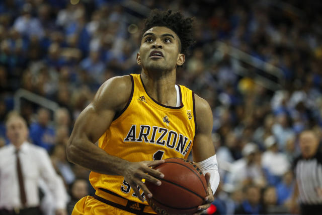 Arizona State guard Remy Martin (1) drives to basket against UCLA during an NCAA college basketball game Thursday, Feb. 27, 2020, in Los Angeles. (AP Photo/Ringo H.W. Chiu)