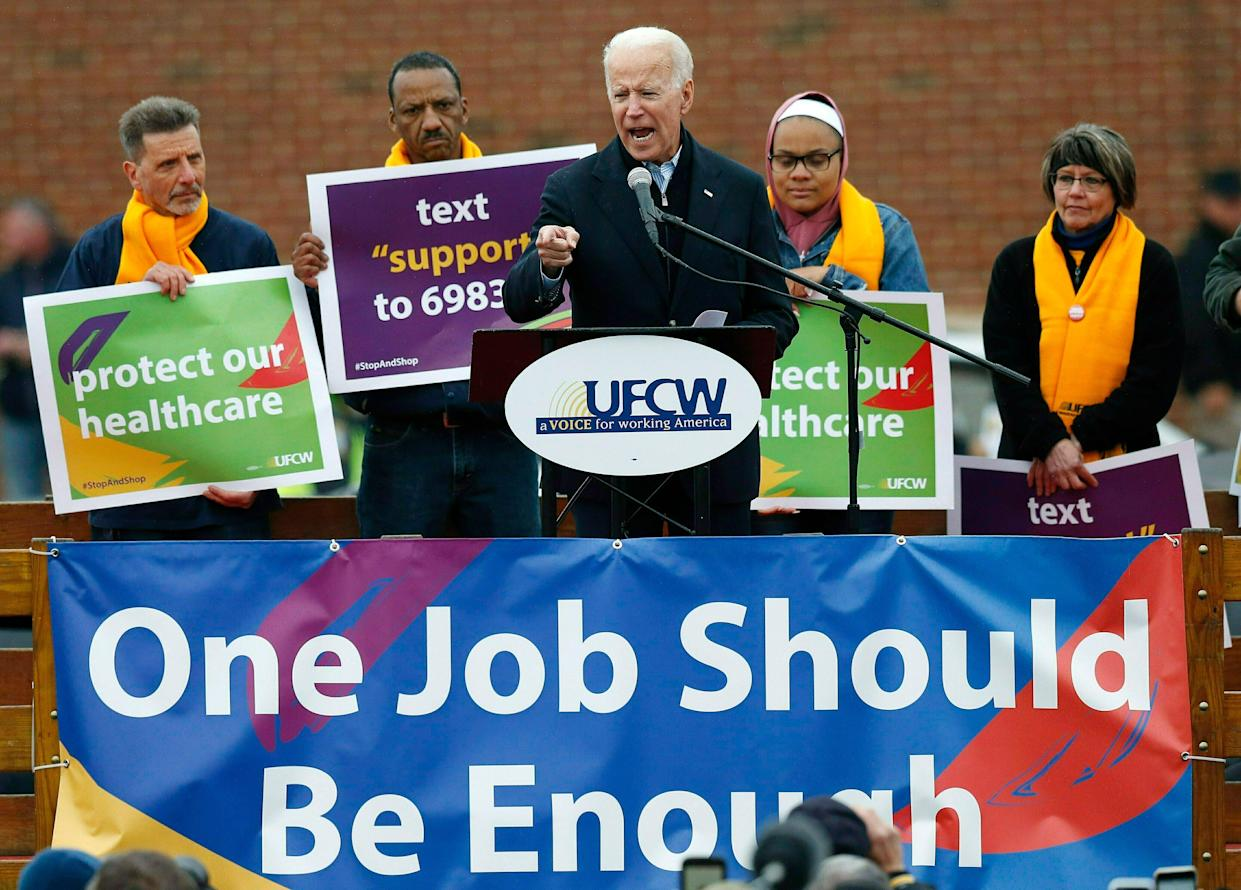 Biden speaks at a rally in support of striking Stop & Shop workers in Boston, April 18, 2019. (Photo: Michael Dwyer/AP)