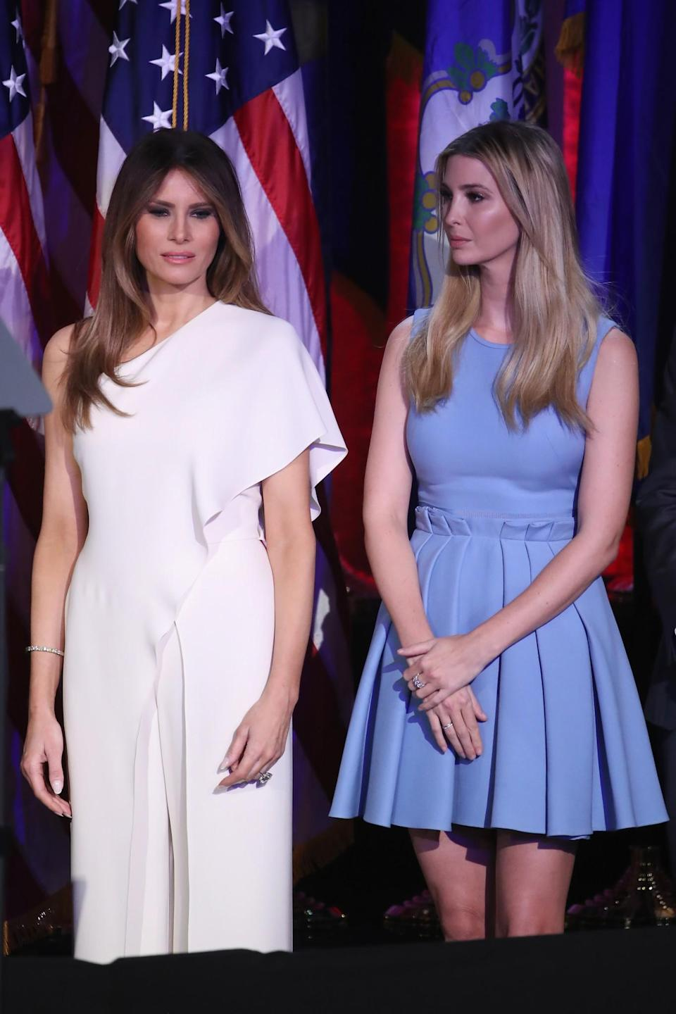 <p>Accompanying Donald Trump on the night of the election, Melania gave off a sophisticated vibe in a chic white jumpsuit. <i>[Photo: Getty]</i> </p>
