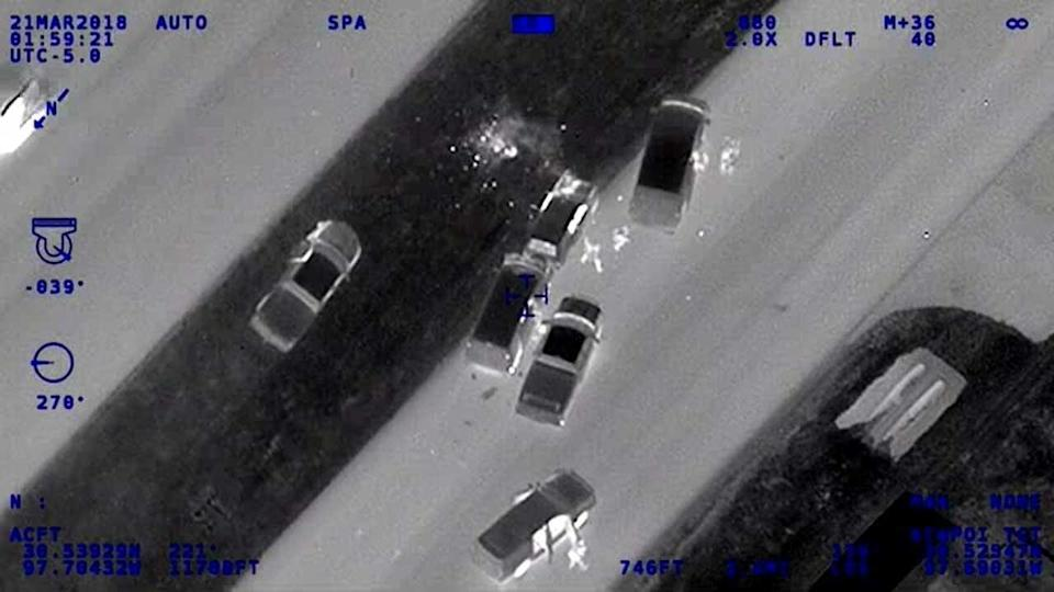 As Austin Pollice SWAT members surrounded Conditt's vehicle, top center, he detonated a bomb inside. / Credit: Texas Department of Public Safety