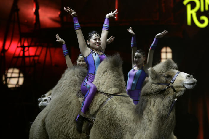 """<p> Ringling Bros. and Barnum & Bailey acrobats ride camels during a performance Saturday, Jan. 14, 2017, in Orlando, Fla. The Ringling Bros. and Barnum & Bailey Circus will end the """"The Greatest Show on Earth"""" in May, following a 146-year run of performances. Kenneth Feld, the chairman and CEO of Feld Entertainment, which owns the circus, told The Associated Press, declining attendance combined with high operating costs are among the reasons for closing. (AP Photo/Chris O'Meara) </p>"""