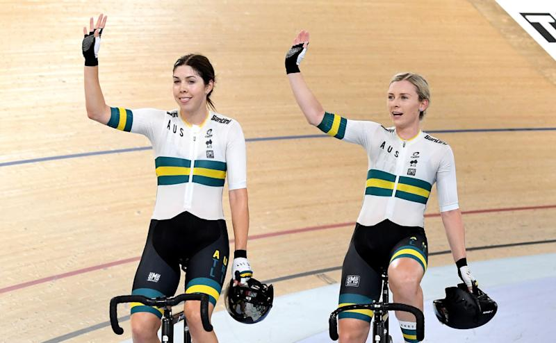 Georgia Baker and Annette Edmondson of Australia celebrate victory in the final of the Women's Madison 30km event during the 2019 Brisbane Track World Cup