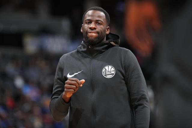 Golden State Warriors forward Draymond Green (23) in the first half of an NBA basketball game Saturday, Feb. 3, 2018, in Denver. (AP/David Zalubowski)