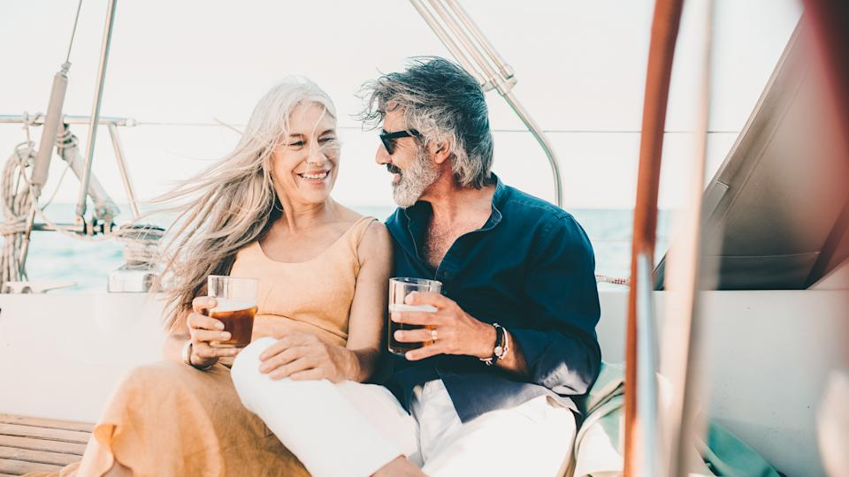 senior couple in retirement on a boat