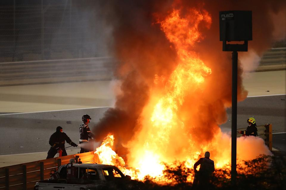 <p>Grosjean was trapped for 28 seconds in the burning Haas car</p>AFP via Getty