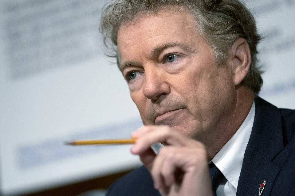 Sen. Rand Paul, R-Ky., speaks during a Senate Health, Education, Labor, and Pensions Committee hearing, Tuesday, July 20, 2021, on Capitol Hill in Washington. (Stefani Reynolds/The New York Times via AP, Pool)