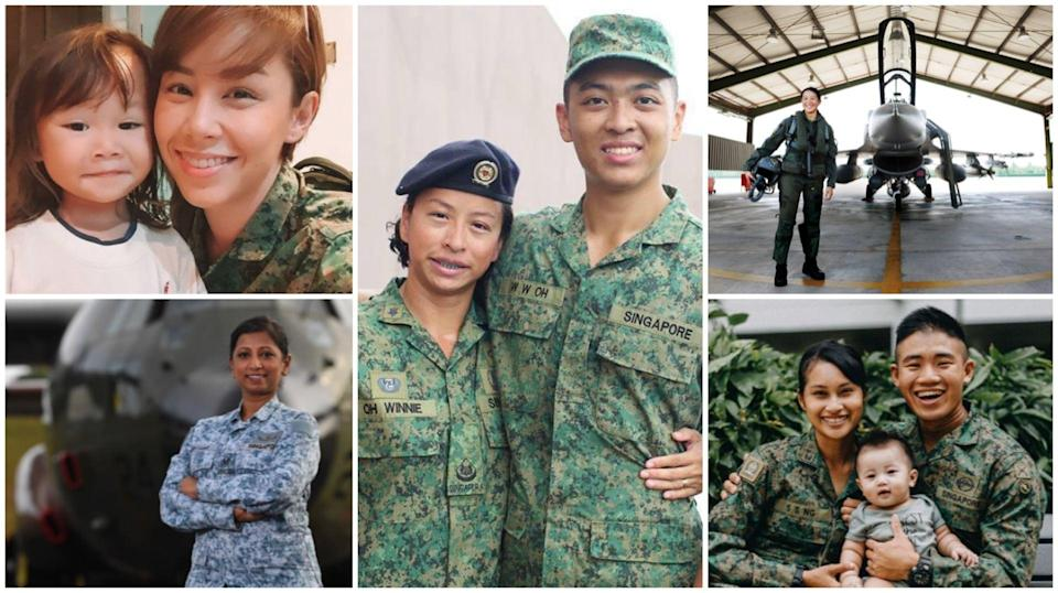 (Clockwise from top left) SV1 Kelly Latimer, 3WO Winnie Oh, MAJ Khoo Teh Lynn, SSG Venice Ng and ME3 Sanhti d/o Thanapal are just some of the individuals who manage the domains of motherhood and the military with flair and finesse.