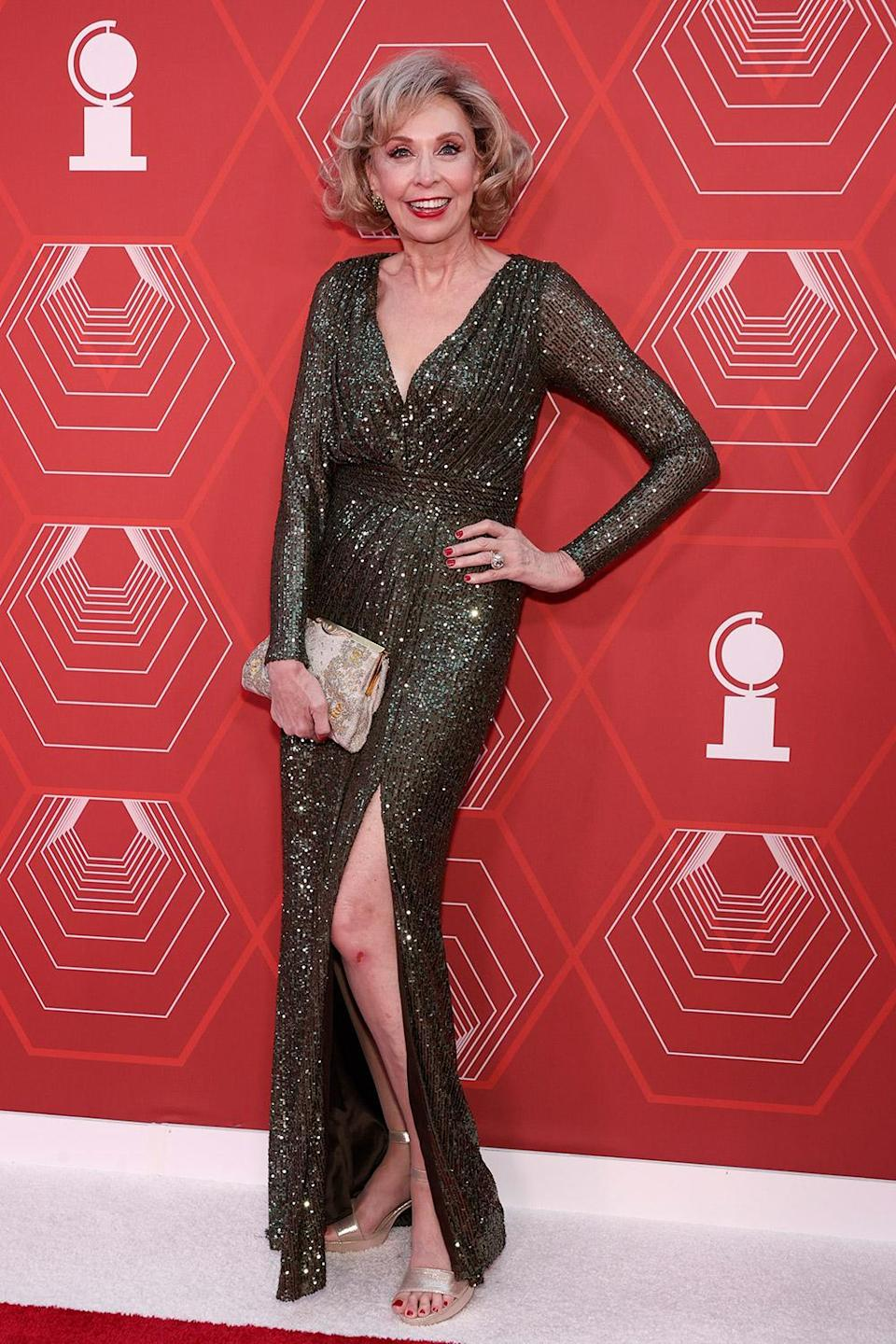 <p>2020 Isabelle Stevenson Tony Award recipient Julie Halston shines in a sequined gown on the red carpet. </p>