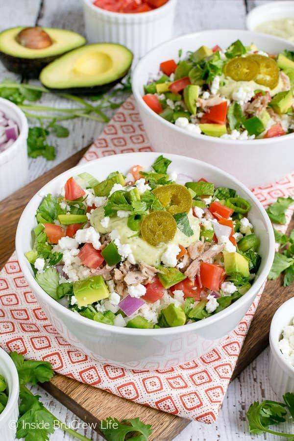 """<p>Pro tip: Swap out brown rice for <a href=""""https://www.goodhousekeeping.com/health/diet-nutrition/a20951206/cauliflower-nutrition/"""" rel=""""nofollow noopener"""" target=""""_blank"""" data-ylk=""""slk:cauliflower rice"""" class=""""link rapid-noclick-resp"""">cauliflower rice</a> if you're looking for a lighter meal. Pulled pork (or beans, if you want a vegetarian option!) plus crumbled cheese will still bulk up your bowl. </p><p><em><a href=""""https://insidebrucrewlife.com/healthy-pulled-pork-burrito-bowls/"""" rel=""""nofollow noopener"""" target=""""_blank"""" data-ylk=""""slk:Get the recipe from Inside BruCrew Life »"""" class=""""link rapid-noclick-resp"""">Get the recipe from Inside BruCrew Life »</a></em><br></p>"""