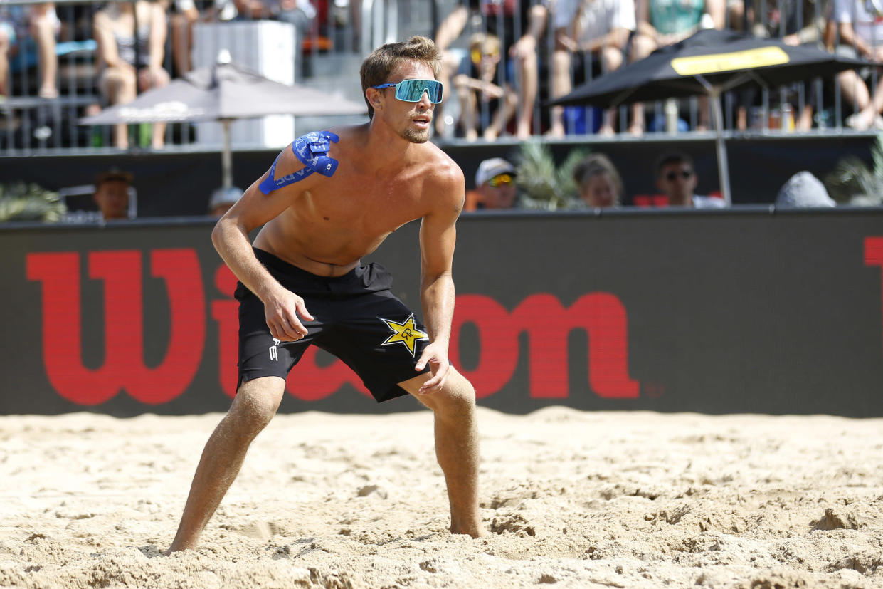 Image: Taylor Crabb on the court during the finals at AVP Gold Series Championships in Chicago. (Justin Casterline / Getty Images file)