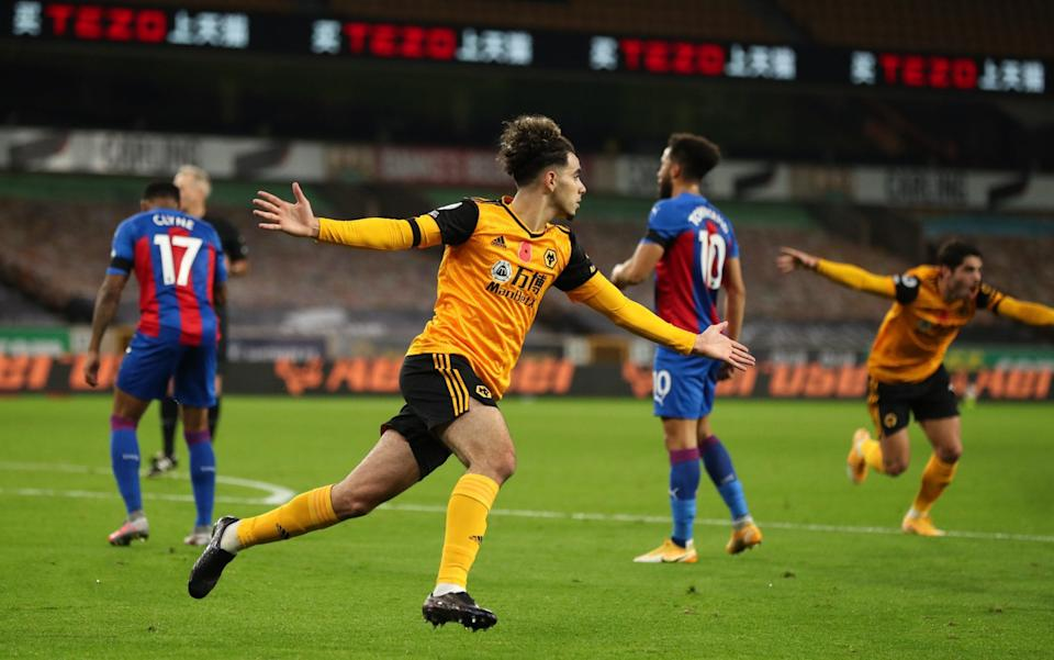 Rayan Ait-Nouri of Wolverhampton Wanderers celebrates after scoring a goal to make it 1-0 during the Premier League match between Wolverhampton Wanderers and Crystal Palace at Molineux on October 30, 2020 in Wolverhampton, United Kingdom. - GETTY IMAGES