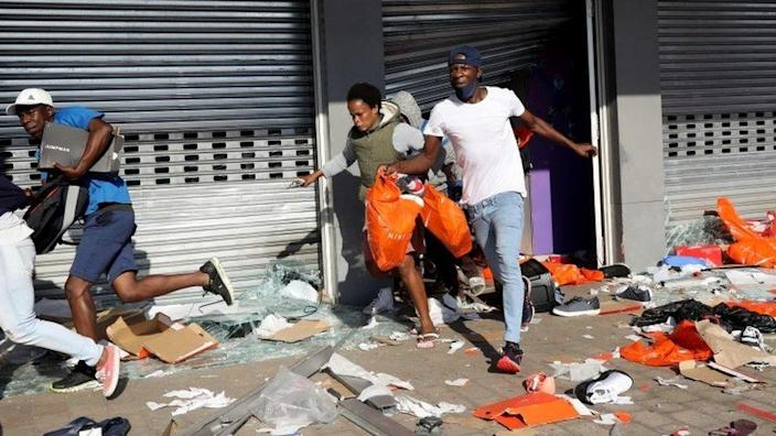 On July 12, 2021, during a protest in Durban, South Africa, looters emptied shops in the Springfield Value Center