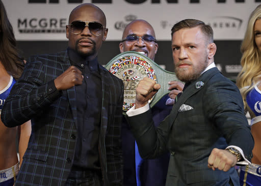If Conor McGregor reverts to his MMA tactics against Floyd Mayweather, it could cost him everything. (AP)